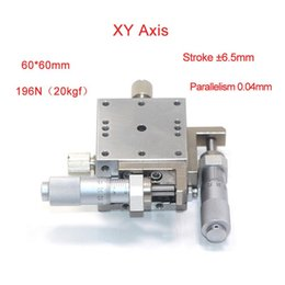stage parts Australia - XY Axis 60*60mm Trimming Station Manual Displacement Platform Linear Stage Sliding Table PLBY60-L PLBY60-C PLBY60-R Cross Rail