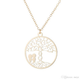 """Rose Contracting NZ - """"Stainless Steel Pendant Brass Chain Necklace Charm circle Contracted Hollow out romantic lovers under the tree Necklaces NYX-13"""""""