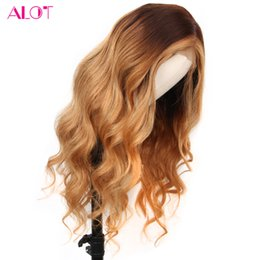 honey brown wigs Australia - Body Wave Ombre Lace Front Wigs #4 27 Mix Honey Blonde Brown 13x4 Lace Front Human Hair Wigs Malaysian Non Remy 150% Density