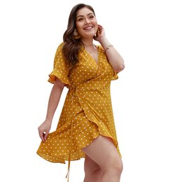 plus size flare shorts 2019 - Short Flare Sleeve High Waist Loose Plus Size 3XL 4XL Dress Women Vestido Casual Summer Dot Lace Up Deep V-Neck Dot Prin