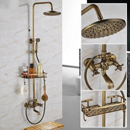 antique brass shower handles NZ - Antique Brass Wall Mounted Bathtub Shower Set Faucet Dual Handle with Commodity Shelf Mixers