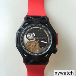 titanium swiss men watch 2019 - New Men Wristwatches Sports Car Watch Swiss Automatic Tourbillon Sapphire Crystal PVD Black Titanium Case Manual unloadi
