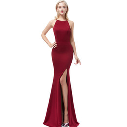 blue gowns for prom UK - Beauty Emily Wine Red Sexy Satin Mermaid Long For Women Formal Evening Gowns Prom Party Dresses Q190516