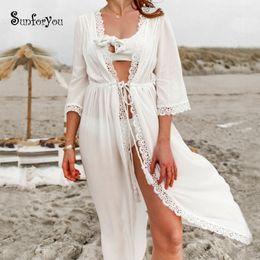 $enCountryForm.capitalKeyWord Australia - Swimsuit Cover Up 2019 Cotton White Beach Dress Lace Cover-up Robe De Plage Bathing Suit Cover Ups Kaftan Beach Saida De Praia