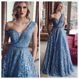 $enCountryForm.capitalKeyWord Australia - 2019 Arabic Aso Ebi Blue Lace Evening Dresses Beaded One Shoulder Prom Dresses A-line Vintage Formal Party Bridesmaid Pageant Gowns ZJ522