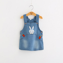 $enCountryForm.capitalKeyWord NZ - Baby Girl Clothes Denim Jumper Pinafore Girl Dress With Lovely Rabbit Emboridery Decoration Easy Fitting Play Dress