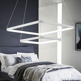 $enCountryForm.capitalKeyWord Australia - Modern simple stylish square aluminium LED pendant light acrylic chandelier single ring double ring 3 rings decorative home lighting fixtur