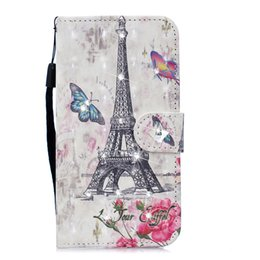 $enCountryForm.capitalKeyWord UK - Leather Flip Case for Iphone 6 6s Painted 3D Wind chimes Flower feather Bear Mandala Cherry blossoms Eiffel Tower Lace Rhinestone crystal
