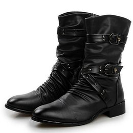 $enCountryForm.capitalKeyWord Australia - Men Fashion Leather Boots British Style Motorcycle Boots For Male Solid Black Platform Rubber Shoes Street Punk Boots