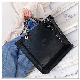 Color transparent bags online shopping - women Transparent Mesh Chain Shoulder Bags casual tote Designer Brand printing Shopping Handbags black color MMA1809