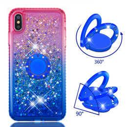 se metal Australia - For Iphone XR XS MAX X 8 7 6 SE Touch 6 5 360 Finger Metal Ring+Quicksand Soft TPU Case Diamond Gradient Metallic Bling Liquid Holder Covers