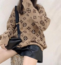 Wholesale sexy animal print sweater for sale – custom Hot Luxury cashmere warm sweaters Winter Loose Plush lazy Fashion brand sexy ladies student Letter Knit Pullover Lazy Casual Home Sweater