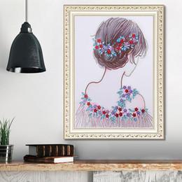$enCountryForm.capitalKeyWord Australia - 1pcs DIY 5D Diamond Painting Kits Embroidery Silhouette Girl Cross Stitch kits living room mosaic pattern Home Decor 40*50cm