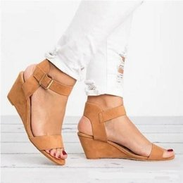 pink sandals for wedding UK - Wedges Platform Gladiator Sandals Buckle Strap Shoes For Woman Summer Casual Shoes Woman Peep Toe Flip Flops Slipper Size 34-43