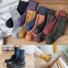 Wholesale warm winter men casual socks online – funny Hirigin Autumn Winter Warm socks Women Men Solid Color Mid Socks Casual Comfortable Warm Ladies Long Ankle Socks