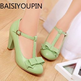 Wholesale types dress shoes online – ideas Women Sweet Bow High Heels Shoes Small Size T Type Buckle Thick Heel Big Size All Match Women s Dress Shoes