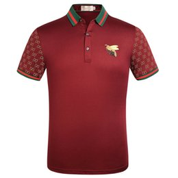 Großhandel Top markenkleidung männer stoff gestreiftes polo stickerei biene t-shirt umlegekragen casual männer t-shirt t-shirt 886