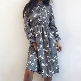 Wholesale cute korean women clothing online – oversize Winter Korean Print Flowers Women Kawaii Dress Vintage Long Sleeve Mid Calf Party Dress Button O Neck Vestidos Cute Clothing