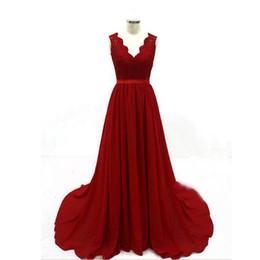 $enCountryForm.capitalKeyWord UK - Luxury Women Red Waist Chiffon Gown Party Night Evening Gala dress formal dresses evening sukienki wieczorowe prom dress sukienki wieczorowe