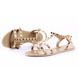 studs sandals NZ - Hot Sale-2019 fashion women sandals flat jelly shoes bow rivet cross sandals stud beach shoes summer rivets slippers Thong nude