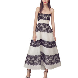 7fbbeb24353e A Line Evening Off Shoulder Sexy White And Black Women Strapless High Waist  Lace Patchwork Midi Dresses Party Dresse Spring 2019 Fashion New