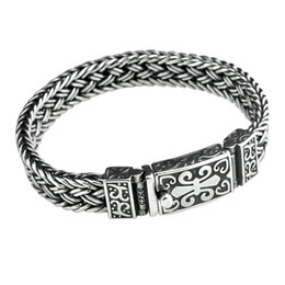 black steel wire rope UK - Real 925 Sterling Silver Bracelet Men's Wide 11mm Retro Punk Rock Wire Chain Chain and Bracelet Male Thai Silver Jewelry Gift