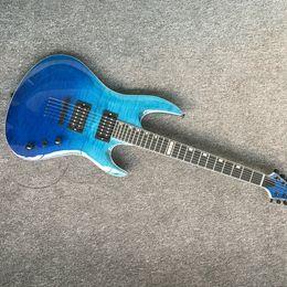 Guitar One Piece Neck Australia - Hot Selling High Quality mahogany body, one-piece set neck, pickup, strings thru body blue burst electric guitar