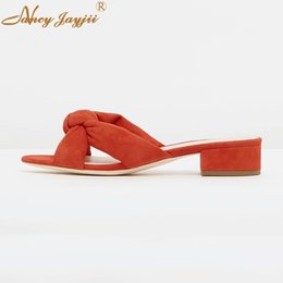Slippers Summer Shoes Adult Australia - Female Women Shoes Adult Slippers Butterfly-knot Flock Solid High Square heels Outside Casual Fashion Leisure Nancyjayjii 2019