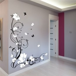 $enCountryForm.capitalKeyWord Australia - Large Butterfly Vine Flower Vinyl Removable Wall Stickers Tree Wall Art Decals Mural for Living room Bedroom Home Decor Children Room