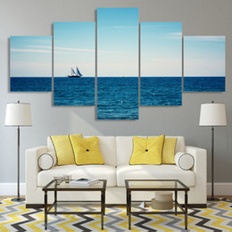 Sea Decor Australia - Home Decor Living Room Modular Poster 5 Panel Blue Sea Sailing Boat HD Printed Modern Canvas Painting Wall Art Frame Pictures