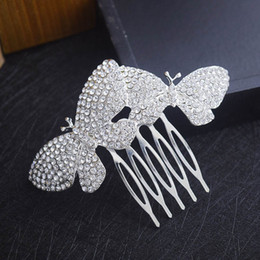 Butterfly hair comB wedding online shopping - Elegant Rhinestone Butterfly Hair Comb Wedding Party Crown Hair Accessory Formal Event Headpiece Bridal Jewelry Ready to Ship