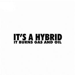 Burning car online shopping - It is a hybrid it burns gas and oil personality black silver car sticker CA