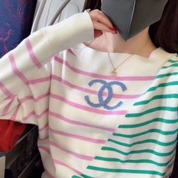 Wholesale knit a sweater resale online - In the new spring and Autumn style stripe to this cinema a thin knit sweater of high quality