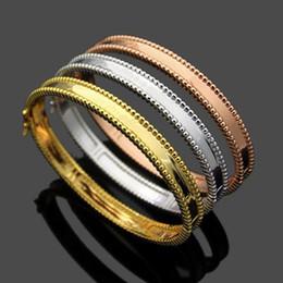 $enCountryForm.capitalKeyWord Australia - New Arrival Fashion Lady Brass Double Rows Beads Lettering Signature 18k Gold Plated Engagement Wedding Bead edge Bangle Bracelets 3 Color
