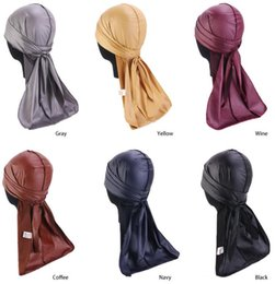 summer skull caps for men 2019 - 2019 New Fashion Mens Leather Durag Bandanna Turban Wigs Headwear Headband Long tail Headwrap Pirate Hat Hair Accessorie