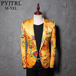 Suits Blazers Pattern Australia - Pyjtrl Brand Tide Mens Golden Chinese Style Dragon Pattern Digital Print Suit Jacket Wedding Party Nightclub Stage Blazer J190420