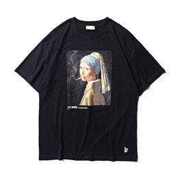 Smoking paintingS online shopping - 19ss FXXKING Rabbits T Shirt No Smoking Girl Painting FR2 Character Print T shirt Men Women smoking Kills T Shirts Streetwear