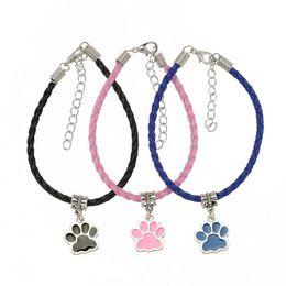 $enCountryForm.capitalKeyWord NZ - Wave Child 10pcs Silver Cat Dog Footprint Bear Paw Charm Bracelets & Bangles Fit Women Wristband DIY Leather Bracelet Rope S6442
