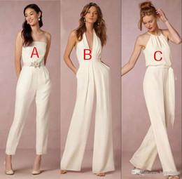 Wholesale jumpsuits for plus sizes resale online – 2018 Elegant Jumpsuit Bridesmaid Dresses for Wedding Sheath Backless Wedding Guest Gowns Plus Size Pant Suit Beach
