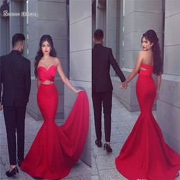 $enCountryForm.capitalKeyWord Canada - 2019 Red Mermaid Sweetheart Prom Dresses Open Back Evening Wear Cutaway Sides Party Gowns Hot Sales
