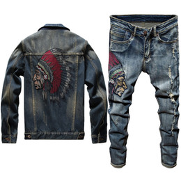 Wholesale twinset men for sale – designer 2020 New Men s Jeans Two Piece Set Slim Embroidered Indian Long Sleeve Denim Jacket Stretch Pants Punk Style High Street Jacket Twinsets