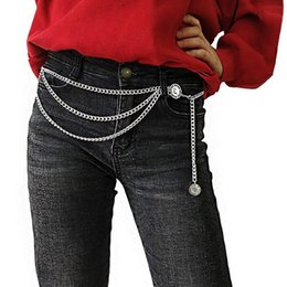 Discount multi body chain - Women Vintage Waist Chain Girls Ladies Elegant Gold Silver Color Slim Belt Hip Multi-layer Metal Punk Body Chains With T