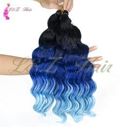 "Bundle Pack Extensions Australia - Synthetic Deep Wave Crochet Braiding Hair Extensions 22"" Short 3Pcs pack Ombre Wavy Hair Weave Bundles Deep Wave Pre-loop Synthetic Crochet"