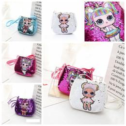 soft doll bodies 2019 - 5styles Dolls sequin Crossbody Bag handbag Kids Girls Cartoon Coin Purse hop-pocket shoulder Bags travel party Christmas