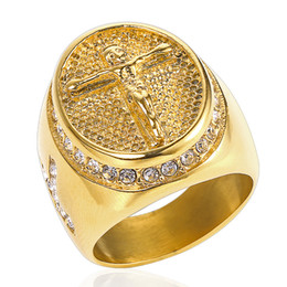 49b99a298 New Vintage Cross Men Rings Hip Hop Jewelry 316L Stainless Steel Gold Plated  Rings Jesus Crystals Ring For Men