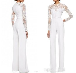 China 2019 new White Mother Of The Bride Pant Suits Jumpsuit With Long Sleeves Lace Embellished Women Formal Evening Wear Custom Made supplier mother bride royal blue suit suppliers
