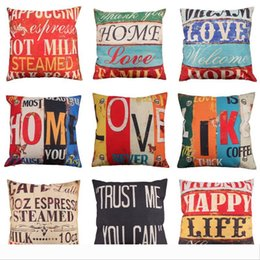 knit pillow patterns Australia - Originality Letter Pattern Pillow Case Home Decor Love Cotton Flax Cushion Cover Creative Hand Painted Retro Pillowslip 6my jj