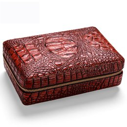 $enCountryForm.capitalKeyWord Australia - COHIBA Leather Cigar Case Cedar Cigar Box Travel Humidor With Cigars Lighter Cutter Humidifier Set W  Gift Box
