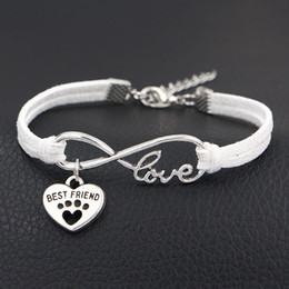 $enCountryForm.capitalKeyWord Australia - Antique Silver Woven White Leather Cotton Rope Infinity Love Dog Paw Prints & Best Friend Heart Charm Bracelet Women Men Accessories Jewelry