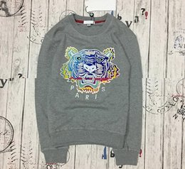 Best Brand Pullovers NZ - wholesale the best quality K*Z* Prais brand Embroidered tiger head logo sweater O-Neck pullover Terry sweatershirt jimpers original